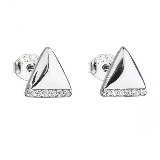 Stříbrné náušnice pecka se zirkonem bílý trojúhelník 11133.1