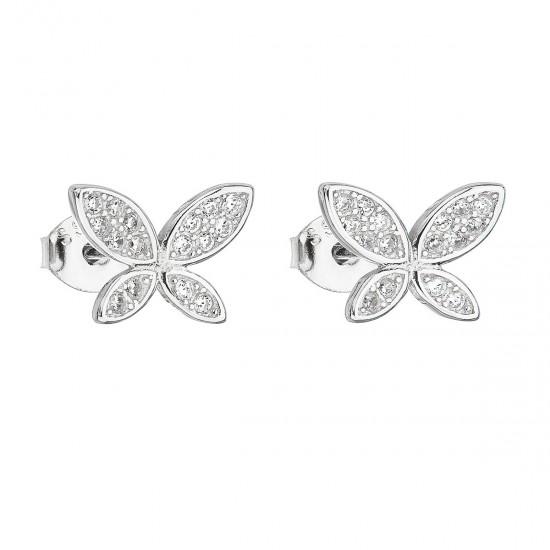 Stříbrné náušnice pecka se zirkonem bílý motýl 11149.1