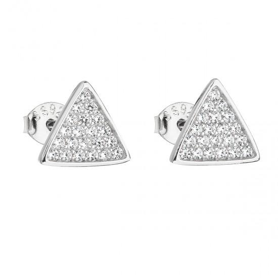 Stříbrné náušnice pecka se zirkonem bílý trojúhelník 11161.1
