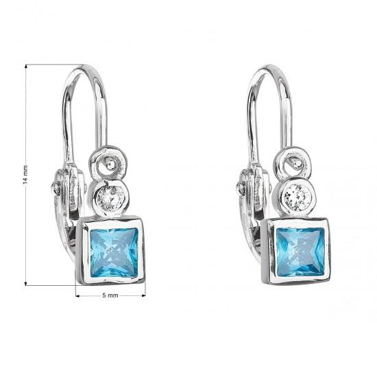 Stříbrné dětské náušnice visací se zirkonem modrá kostička 11172.3