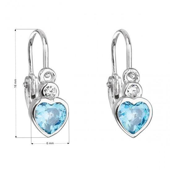 Stříbrné dětské náušnice visací se zirkonem modré srdce 11178.3