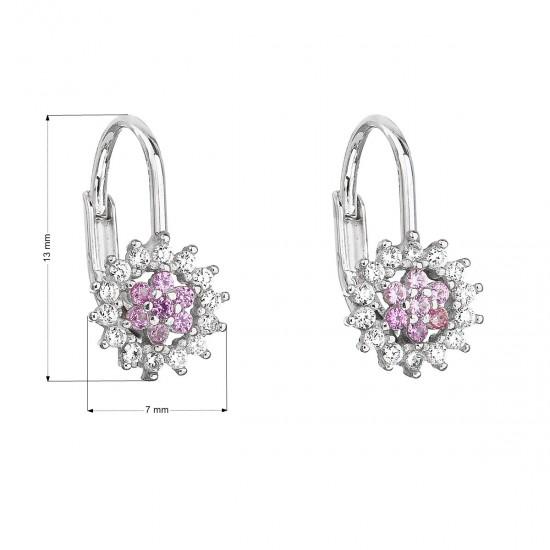 Stříbrné náušnice visací se zirkonem růžová kytička 11217.3