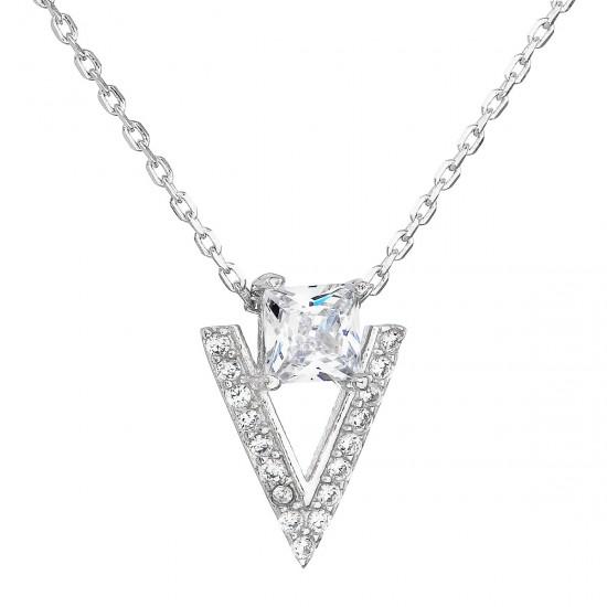 Stříbrný náhrdelník se zirkonem bílý trojúhelník 12007.1