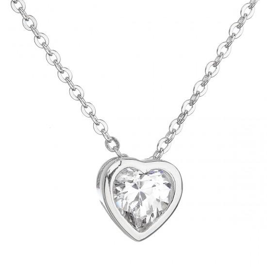 Stříbrný náhrdelník se zirkonem bílé srdce 12020.1