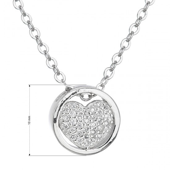Stříbrný náhrdelník se zirkonem bílé srdce 12027.1