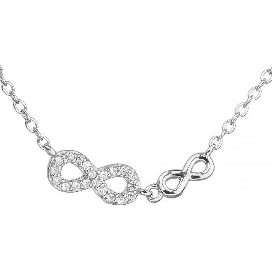 Stříbrný náhrdelník se zirkonem bílé nekonečno 12041.1
