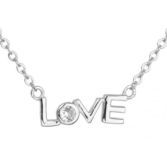 Stříbrný náhrdelník se zirkonem v bílé barvě 12042.1
