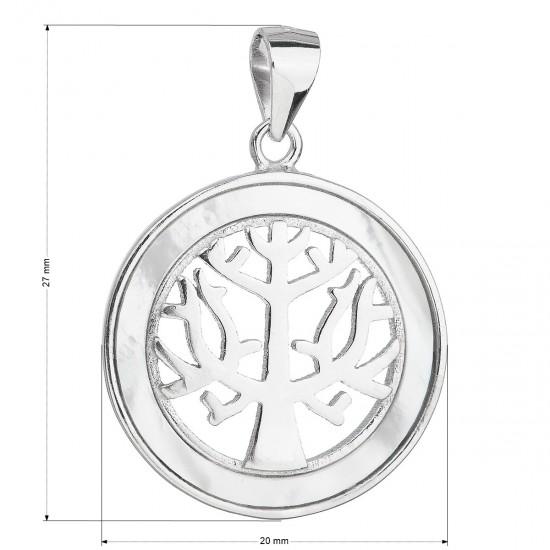 Stříbrný přívěsek se zirkony v bílé barvě strom života 14002.1