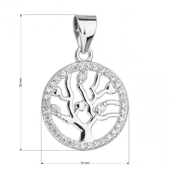 Stříbrný přívěsek se zirkony v bílé barvě strom života 14003.1