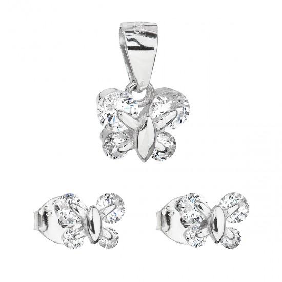 Sada šperků se zirkonem náušnice a přívěsek bílý motýl 19005.1