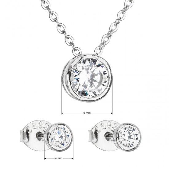 Sada šperků se zirkonem v bílé barvě náušnice a náhrdelník 19007.1
