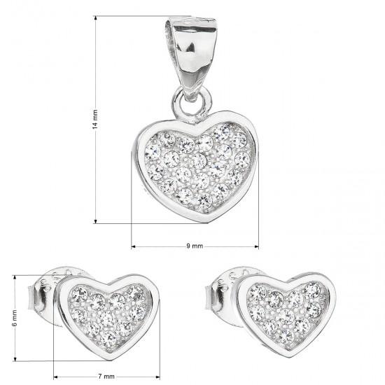 Sada šperků se zirkonem náušnice a přívěsek bílé srdce 19011.1