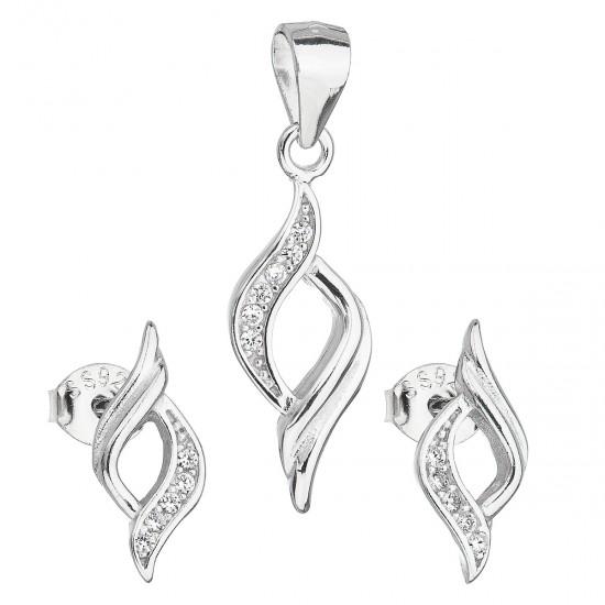 Sada šperků se zirkonem v bílé barvě náušnice a přívěsek 19013.1