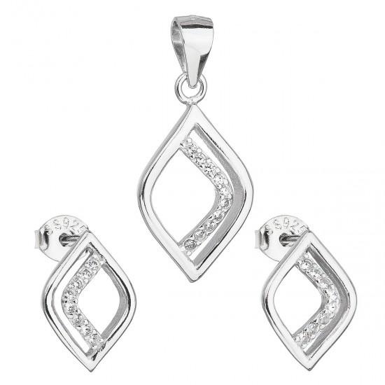 Sada šperků se zirkonem v bílé barvě náušnice a přívěsek 19014.1