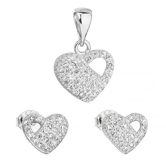 Sada šperků se zirkonem náušnice a přívěsek bílé srdce 19021.1