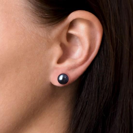 Stříbrné náušnice pecky s modrou říční perlou 21004.3