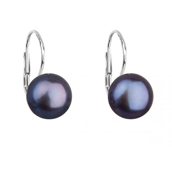 Stříbrné náušnice visací s modrou říční perlou 21009.3