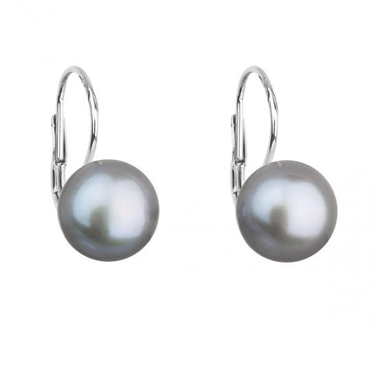 Stříbrné náušnice visací s šedou říční perlou 21009.3