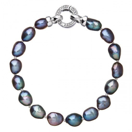Perlový náramek z pravých říčních perel modrý 23011.3