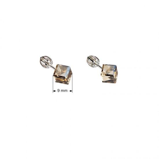 Stříbrné náušnice pecka s krystaly Swarovski zlatá kostička 31030.5