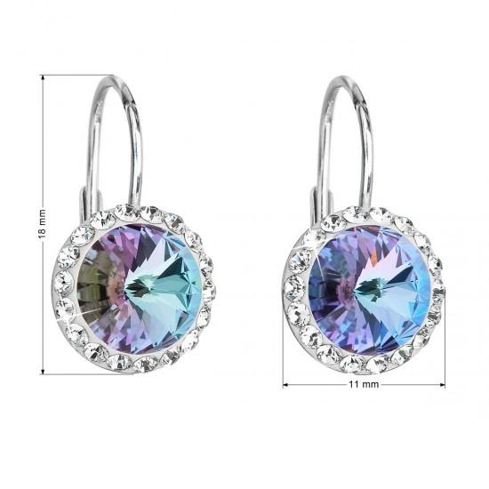 Stříbrné náušnice visací s krystaly Swarovski fialové kulaté 31216.5