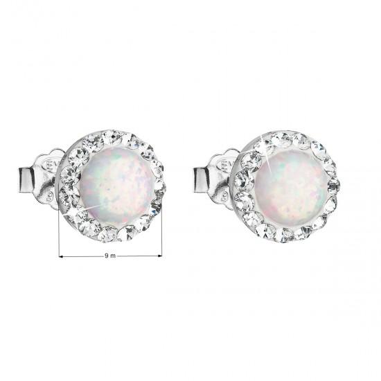 Stříbrné náušnice pecky se syntetickým opálem a krystaly Swarovski bílé kulaté 31217.1