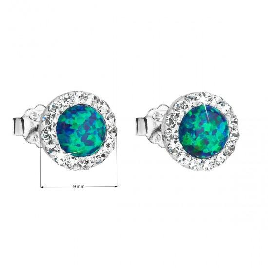 Stříbrné náušnice pecky se syntetickým opálem a krystaly Swarovski zelené kulaté 31217.1