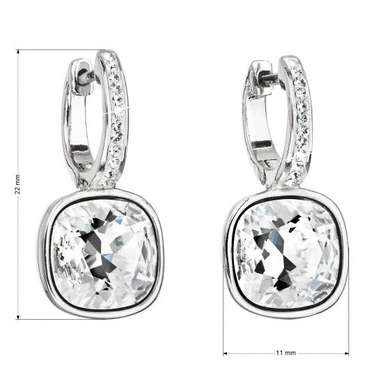 Stříbrné náušnice visací s krystaly Swarovski bílý čtverec 31220.1