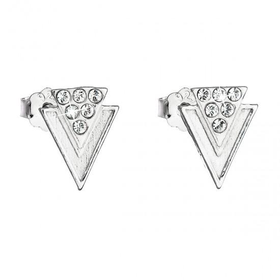Stříbrné náušnice pecka s krystaly Swarovski bílé 31226.1