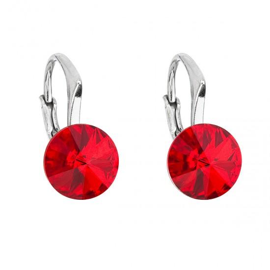 Stříbrné náušnice visací s krystaly Swarovski červené kulaté 31229.3
