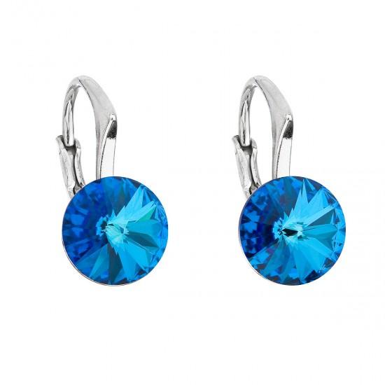 Stříbrné náušnice visací s krystaly Swarovski modré kulaté 31229.5