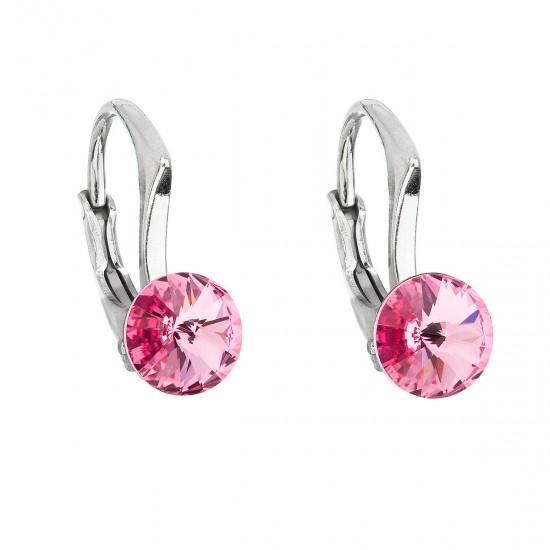Stříbrné náušnice visací s krystaly Swarovski růžové kulaté 31230.3