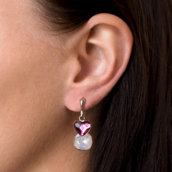 Stříbrné náušnice visací s krystaly Swarovski růžové srdce 31234.3