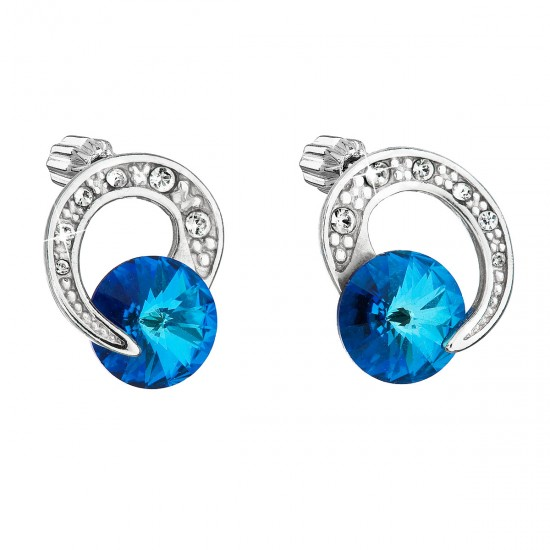 Stříbrné náušnice pecka s krystaly Swarovski modré kulaté 31239.5
