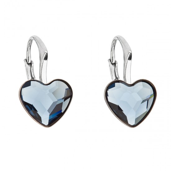 Stříbrné náušnice visací s krystaly Swarovski modré srdce 31240.3