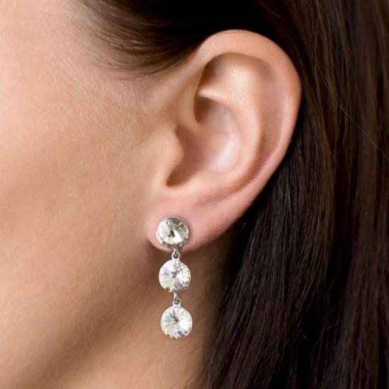 Stříbrné náušnice visací s krystaly Swarovski bílé kulaté 31268.1