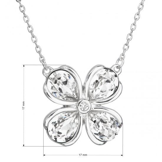 Stříbrný náhrdelník s krystaly Swarovski bílá kytička 32066.1