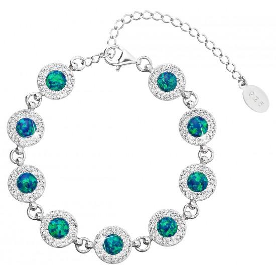 Stříbrný náramek se syntetickým opálem a krystaly Swarovski zelený 33105.1