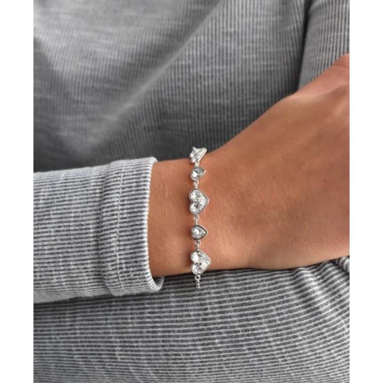Stříbrný náramek se Swarovski krystaly bílé srdce 33109.1