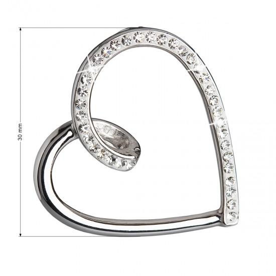 Stříbrný přívěsek s krystaly Swarovski bílé srdce 34095.1