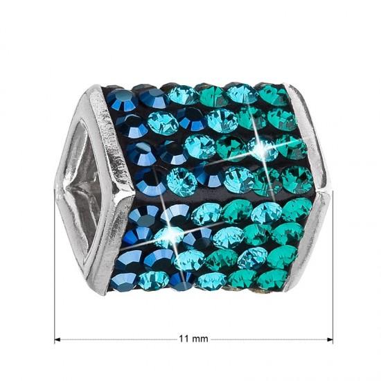 Stříbrný přívěsek s krystaly zelená kostička 34134.3