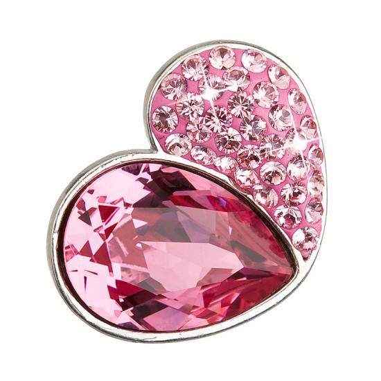 Stříbrný přívěsek s krystaly růžové srdce 34161.3
