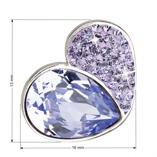 Stříbrný přívěsek s krystaly fialové srdce 34161.3