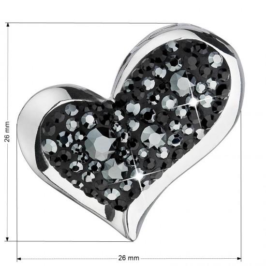 Stříbrný přívěsek s krystaly Swarovski černé srdce 34184.5