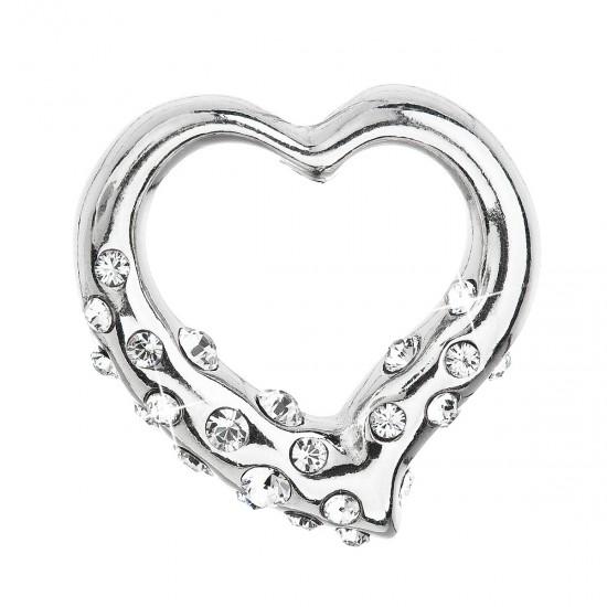 Stříbrný přívěsek s krystaly Swarovski bílé srdce 34213.1