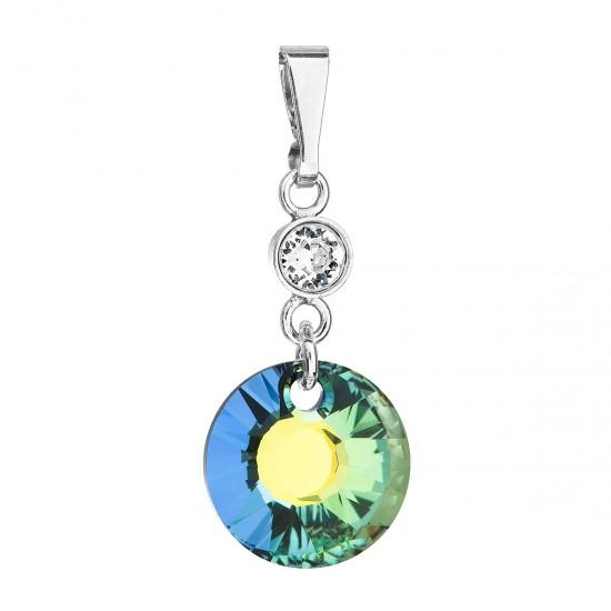 Stříbrný přívěsek s krystaly Swarovski zelený kulatý 34216.5