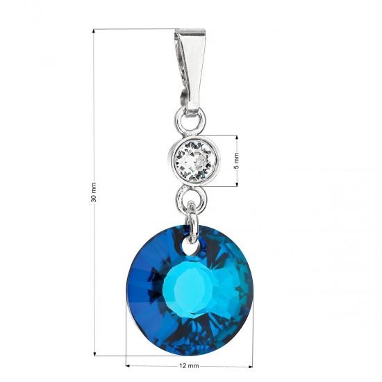 Stříbrný přívěsek s krystaly Swarovski modrý kulatý 34216.5