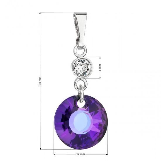 Stříbrný přívěsek s krystaly Swarovski fialový kulatý 34216.5 heliotrope