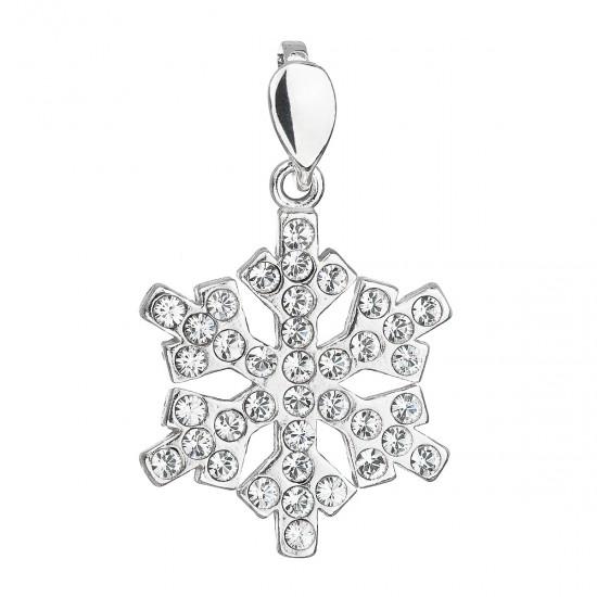 Stříbrný přívěsek s krystaly Swarovski bílá vločka 34221.1