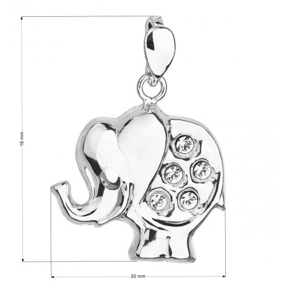 Stříbrný přívěsek s krystaly Swarovski bílý slon 34223.1